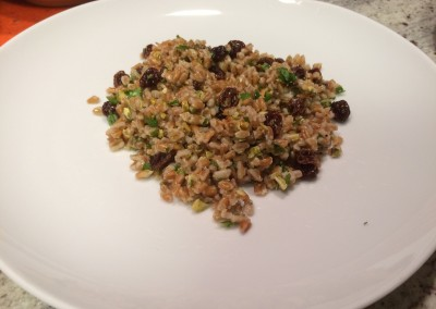 farro with pistachios and raisins