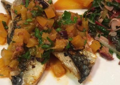 mackerel with beet and orange salsa