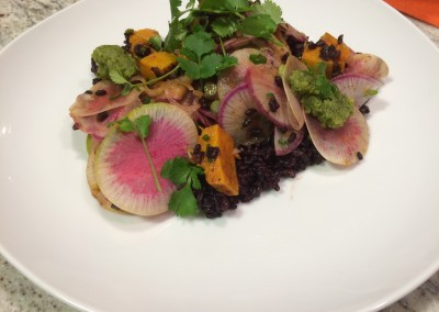 black rice and cilantro pesto salad