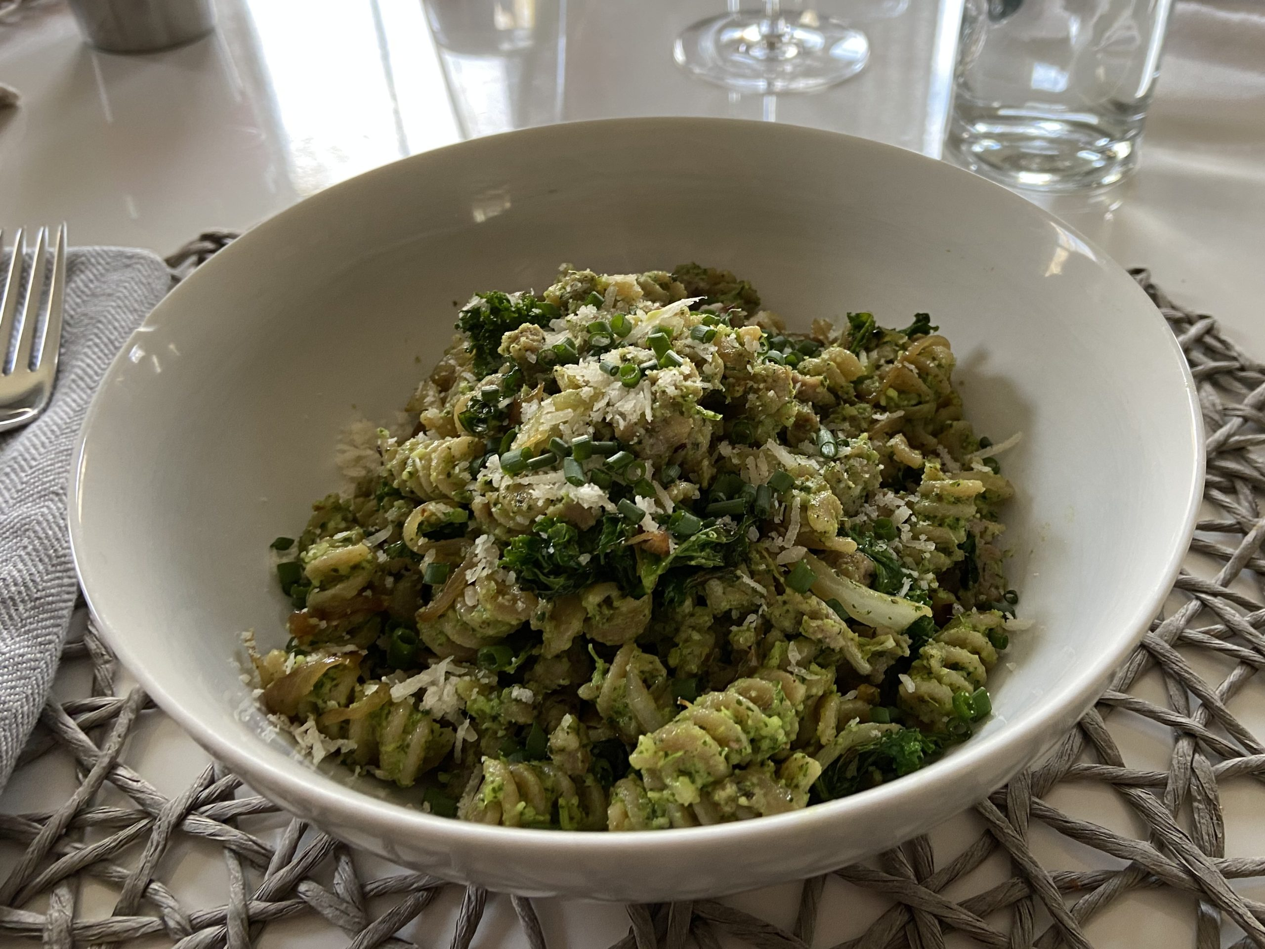pasta with pea shoot pesto